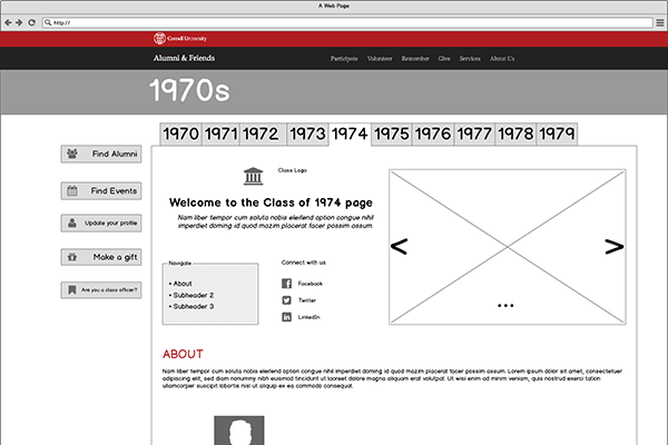 An early wireframe for the class page.