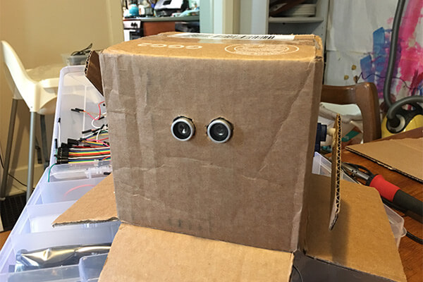 My cardboard box robot, with an ultrasonic sensor as eyes.