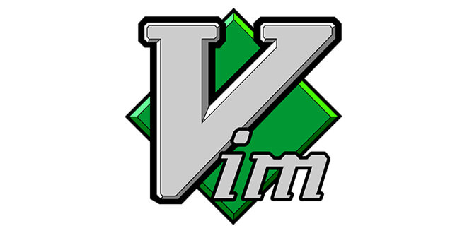 Vim logo, a geometric sliver V over a green square.