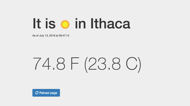 Screenshot of my simple weather app: weather condition, timestamp, and temperatures in F and C. I later deployed it in serverless Python.
