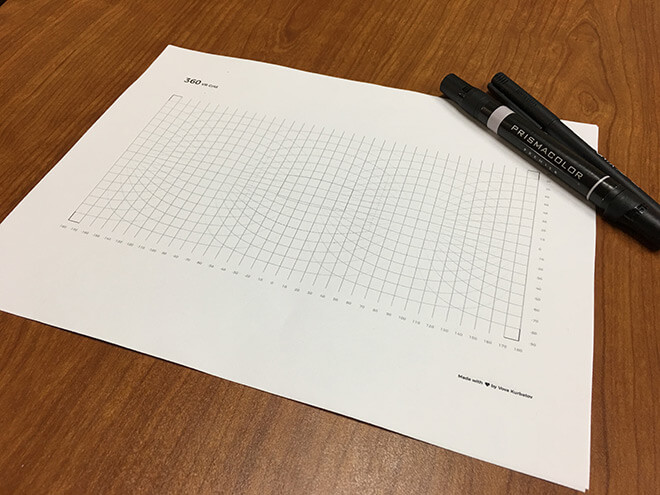 Equirectangular grid paper template and markers.