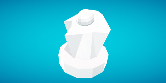 3D model built in Blocks (VR): a white, angular, low poly shape on a blue vignetted background