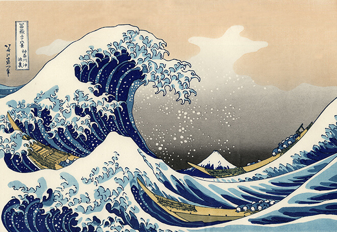 Katsushika Hokusai's Modern recut copy of The Great Wave off Kanagawa, from 36 Views of Mount Fuji, Color woodcut. Although it is often used in tsunami literature, there is no reason to suspect that Hokusai intended it to be interpreted in that way. The waves in this work are sometimes mistakenly referred to as tsunami (津波), but they are more accurately called okinami (沖波), great off-shore waves.