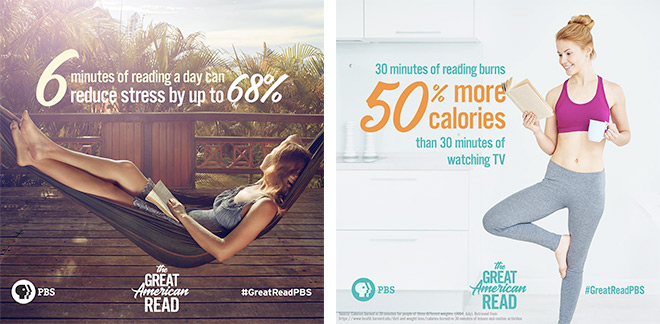 Two book facts illustration from PBS' The Great American Read to consider when picking your next book: 6 minutes of reading a day can reduce stress by up to 68%, and 30 minutes of reading burns more calories than 30 minutes of watching TV.